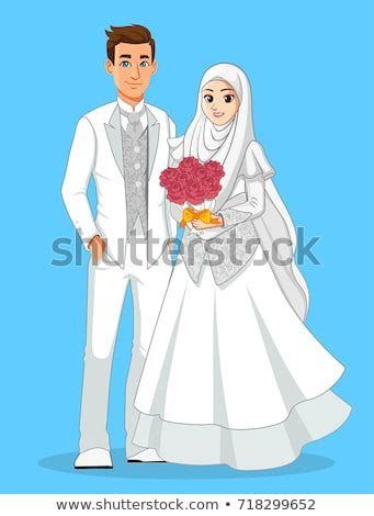 muslim wedding couple white suit stock vector royalty