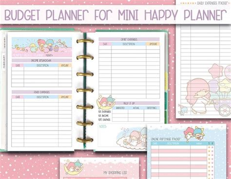 happy planner page template mini happy planner printable inserts budget planner kawaii