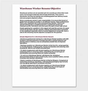 How To Write A Objective For A Resumes Warehouse Worker Resume Template Free Samples Examples