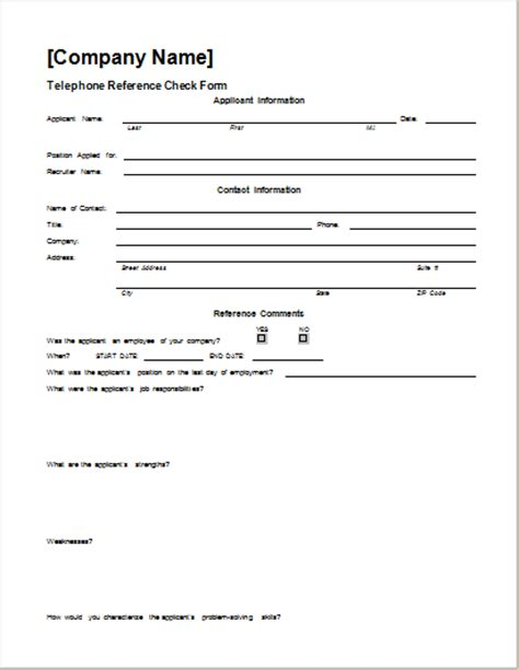Employment Reference Check Form Template by Telephone Reference Check Form Template Word Document Hub