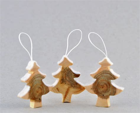 wooden christmas decorations made from juniper tree