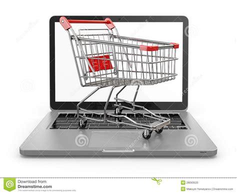 commerce shopping cart  laptop stock  image