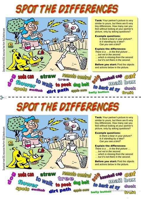 esl find  differences worksheets
