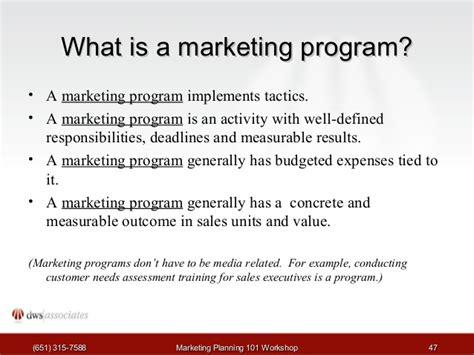 marketing programs marketing planning workshop