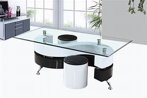Table Basse Blanche Et Verre : table basse en verre avec pouf noir le bois chez vous ~ Teatrodelosmanantiales.com Idées de Décoration