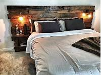 king size headboard ideas Custom King Size Headboard with built in lights and shelving. Natural Rustic Wood with Oil Stain ...