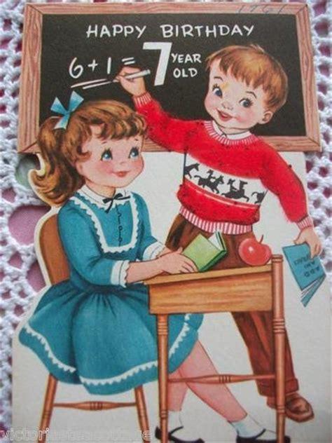 Minecraft bedrock is the same as minecraft. Vintage Greeting Card 'Happy Birthday 7 Year Old' Boy Girl School Desk | Happy birthday vintage ...