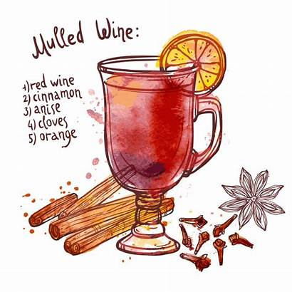 Wine Mulled Clipart Glass Vector Christmas Drawing