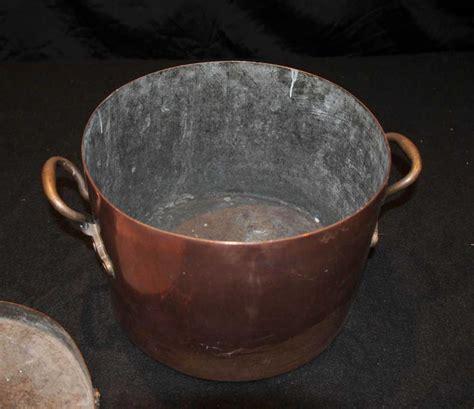 antique copper pot bowl lidded pan english