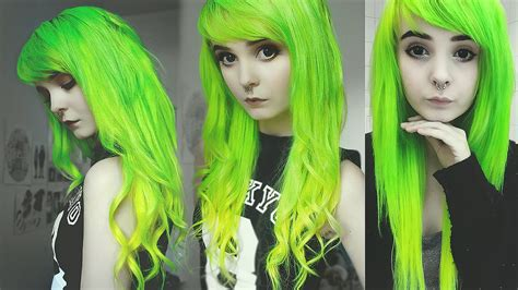 dying  hair lime green  yellow ombre youtube