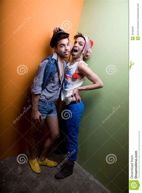 attractive gay couple  funky clothing stock image