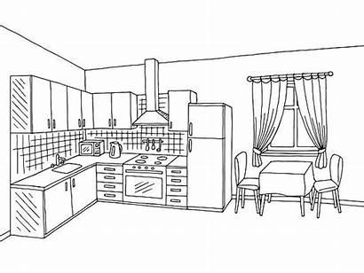 Kitchen Clipart Clip Interior Counter Illustration Sketch