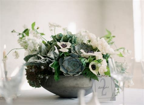 White And Green Succulent Centerpiece