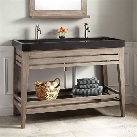 trough sink bathroom vanity 48 quot aurelia vanity with black granite trough sink gray