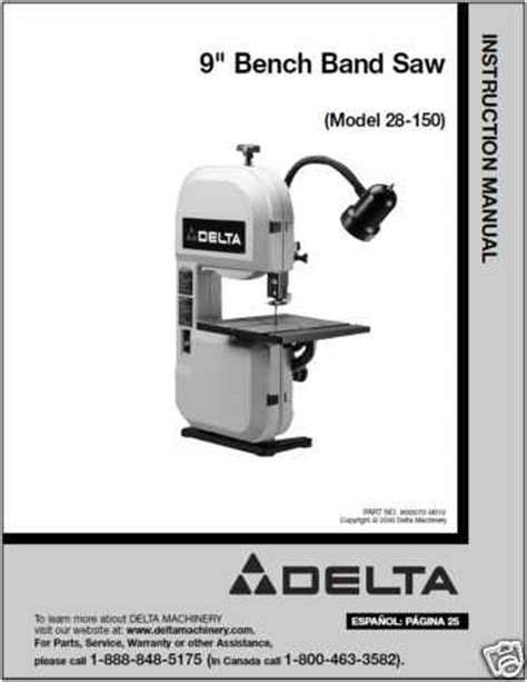 delta bench band saw delta 9 quot bench band saw model 28 150 manual for