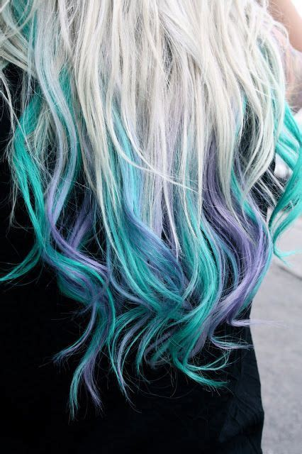 turquoise  purple dip dyed beauty colorful hair