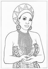 Coloring African Pages Queen American Adult Printable Sheets Colouring Africa Books Warrior Print Drawings Drawing Colorful Lady Portraits Blank Princess sketch template