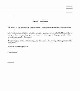 tenant39s letter giving notice to end tenancy template With giving tenants notice to vacate letter