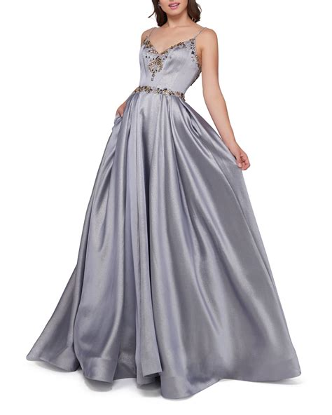 Be the first to write a review. Mac Duggal Metallic V-Neck Sleeveless Ball Gown w/ Beaded ...
