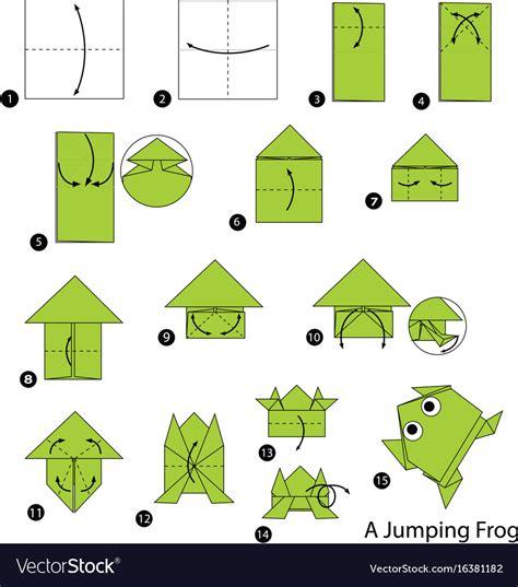 origami  jumping frog royalty  vector image