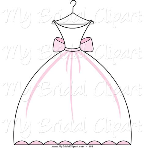 wedding dress clipart bridal clipart of a pink and white wedding dress on a hanger on white by pams clipart 181