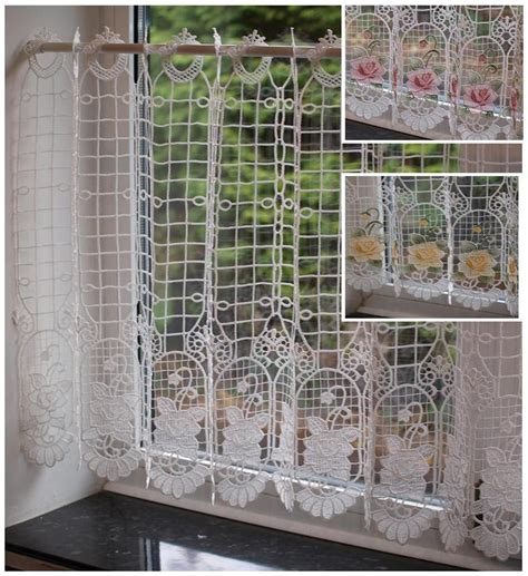 d馮lacer en cuisine macrame lace ready made cafe kitchen curtain panel 24 inch drop ebay