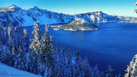 usa parks lake winter scenery crater lake national park