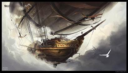 Airship Deviantart Nguen Min Fantasy Steampunk Airships
