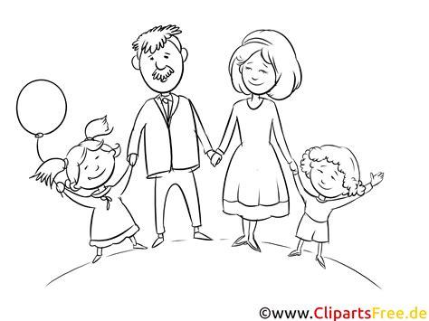 familie illustration bild schwarz weiss zum drucken malen