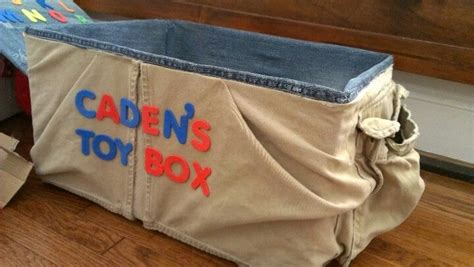 childs diy toy box cardboard box covered   jeans