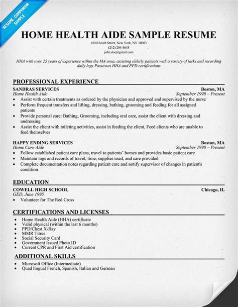 In Home Care Description For Resume home health aide resume exle http resumecompanion health resume sles