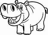 Hippo Coloring Funny Smiling Printable Outline Drawing sketch template
