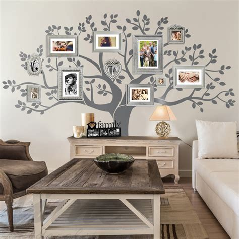 rustic living room family tree wall decor rustic