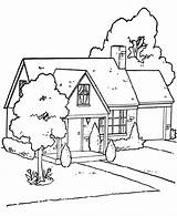 Coloring Tree Pages Magic Scene Piano Village sketch template