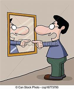 EPS Vectors of Talking to mirror - Man is talking to ...