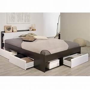 Lit Adulte Tiroir : lit adulte avec tiroirs 140x200cm choozy caf ~ Teatrodelosmanantiales.com Idées de Décoration