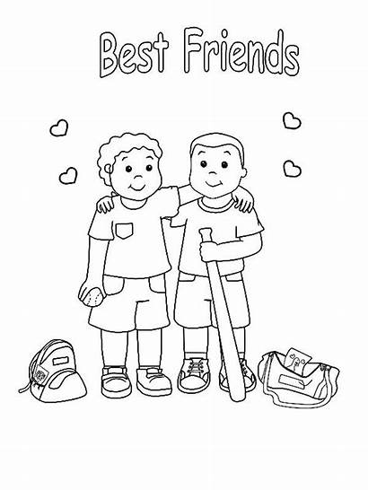 Coloring Friends Friendship Pages Printable Baseball Friend