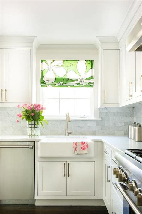 white kitchen  green floral roman shade transitional
