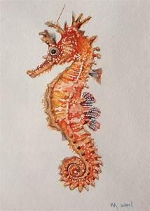 Seahorse, original seahorse watercolor painting, Seahorse ...