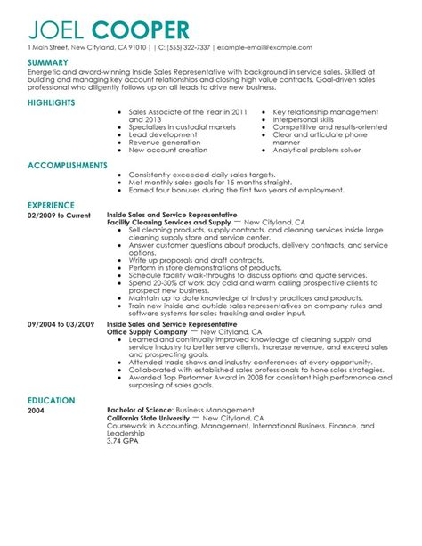 Best Resume Sles by Best Inside Sales Resume Exle Livecareer