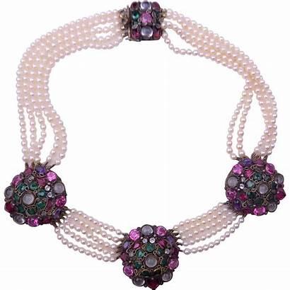 Hobe Pearl Necklace Glass Bezel Jewels