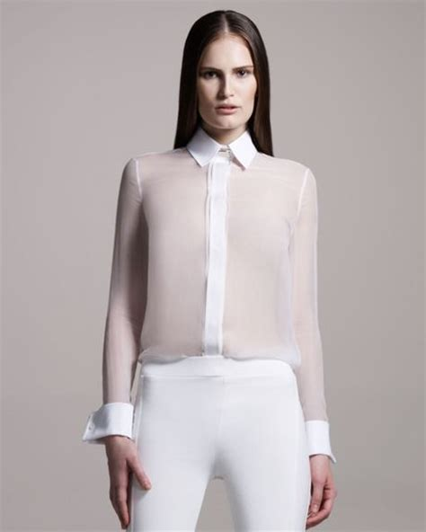 sheer white blouse givenchy tops lyst