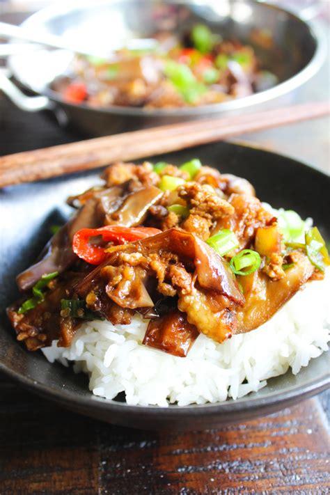 eggplant stir fry spice  plate