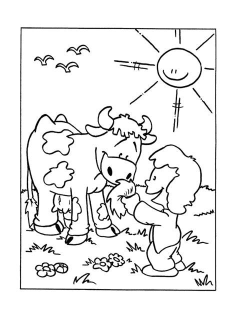 Kleurplaten Koeienkop by Kleurplaat Meisje Geeft Een Handje Gras Aan Een Koe