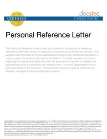 Personal Character Reference Letter Sample