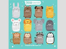 2018 calendar with nice animals Vector Free Download