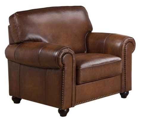 Discontinued Uttermost Ls by Royale Olive Brown Genuine Leather Armchair With Nailhead Trim