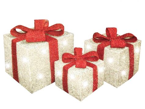 set   decorative pre lit led christmas gift boxes