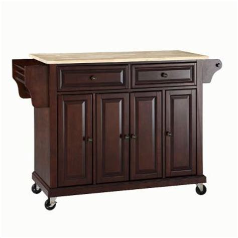kitchen islands home depot crosley 52 in natural wood top kitchen island cart in mahogany kf30001ema the home depot