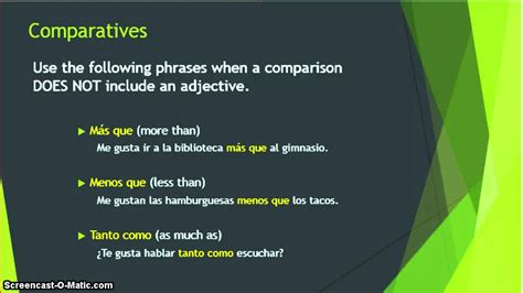 spanish comparatives youtube